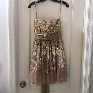 BCBG Max Azria gold and champagne party dress.